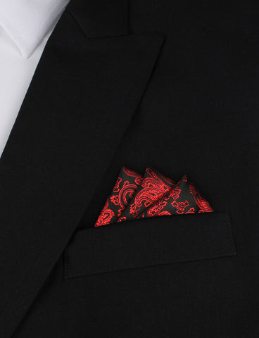 Paisley Red and Black Pocket Square