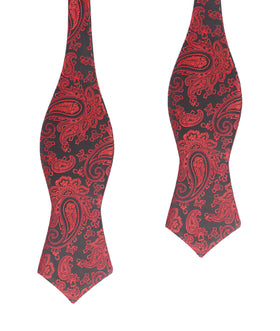 Paisley Red and Black Self Tie Diamond Tip Bow Tie