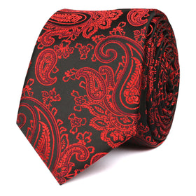 Paisley Red and Black Skinny Tie