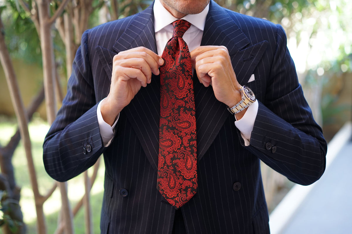 Paisley Red and Black Tie