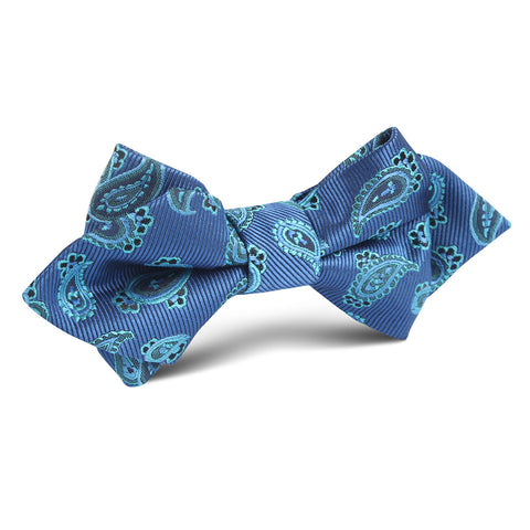 Paisley Sea Blue Diamond Bow Tie