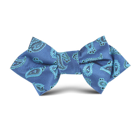 Paisley Sea Blue Kids Diamond Bow Tie
