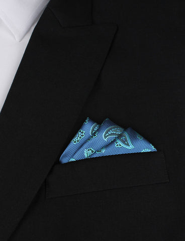 Paisley Sea Blue Pocket Square