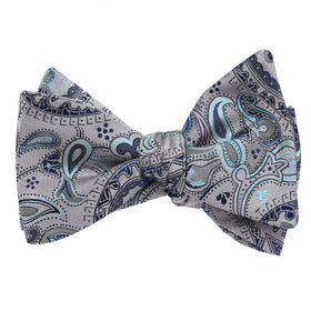 Paisley Silver Bow Tie Untied with Light Blue