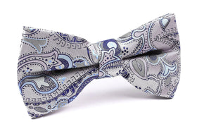 Paisley Silver Bow Tie with Light Blue