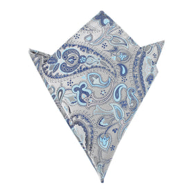 Paisley Silver Pocket Square with Light Blue