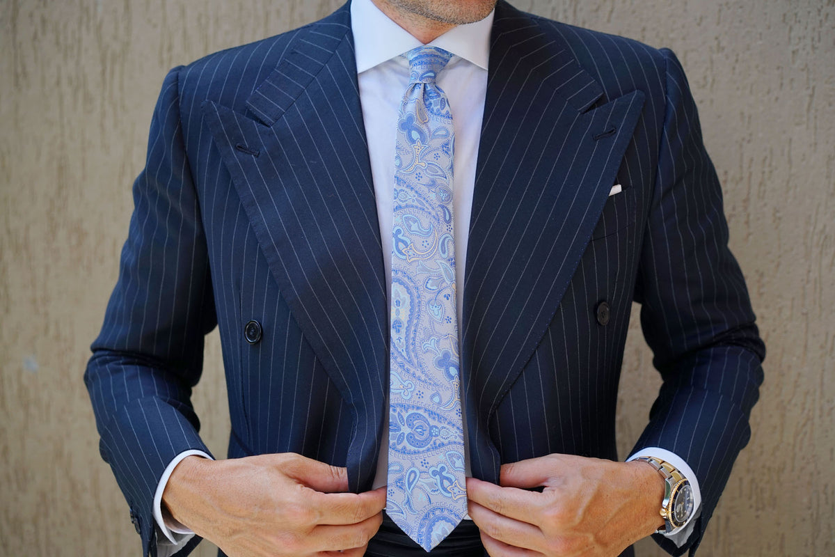 Paisley Silver Skinny Tie with Light Blue