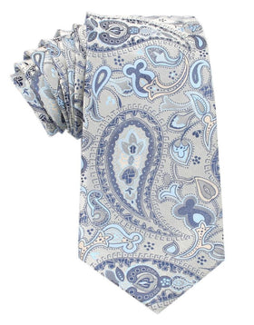 Paisley Silver Tie with Light Blue