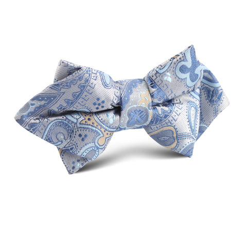 Paisley Silver with Light Blue Diamond Bow Tie