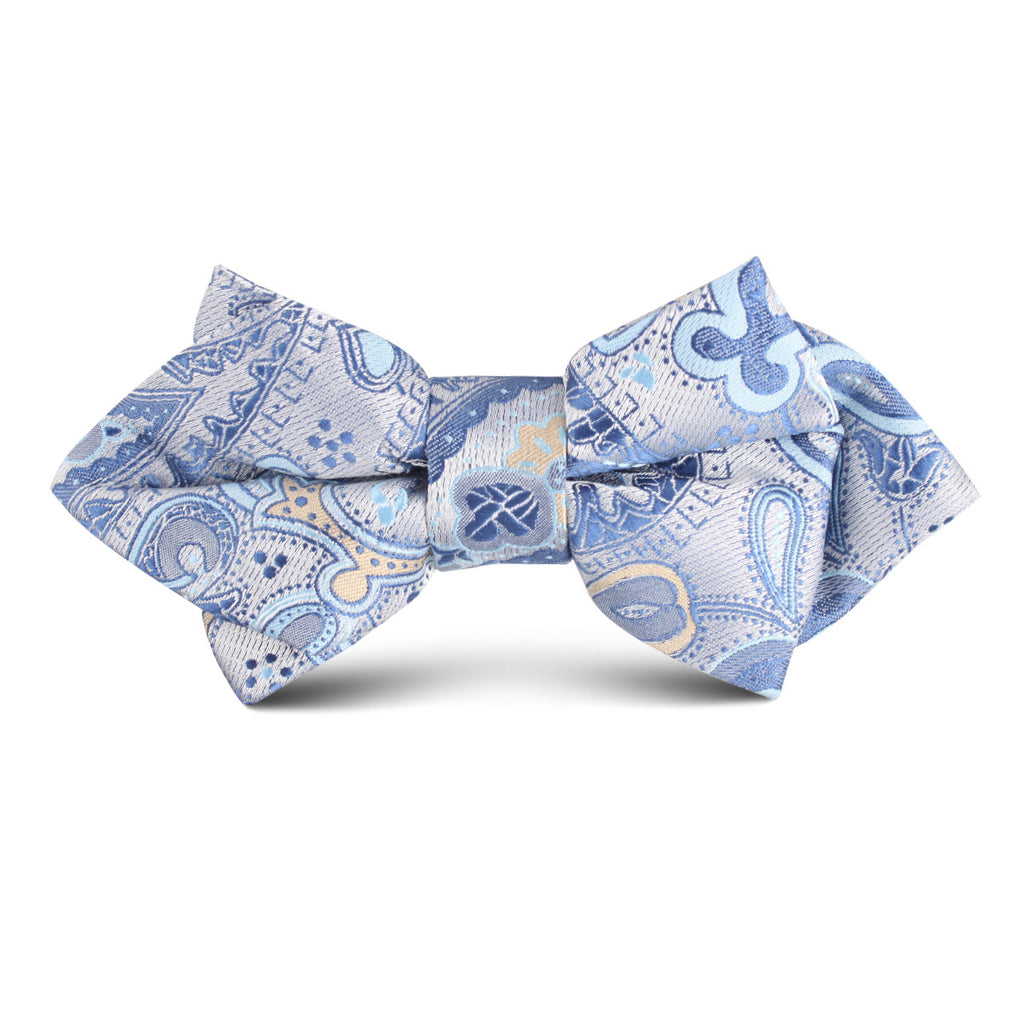 Paisley Silver with Light Blue Kids Diamond Bow Tie