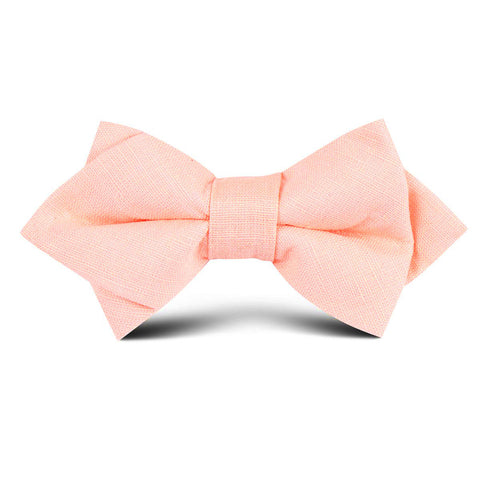 Dusty Peach Slub Linen Kids Diamond Bow Tie