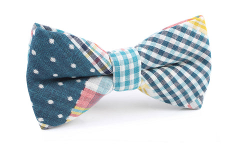 Plaid Blue Gingham Cotton Polka Dot Bow Tie