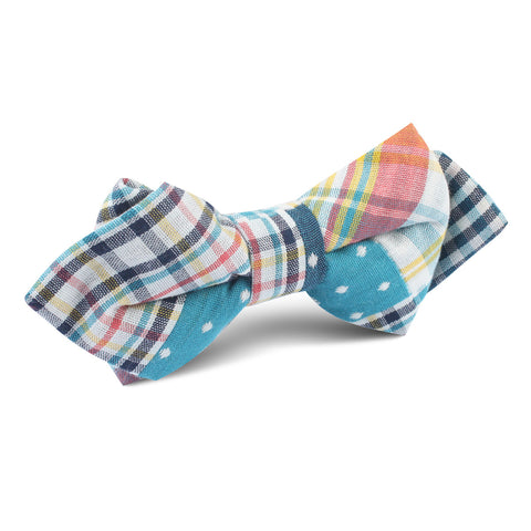 Plaid Blue Gingham Cotton Polka Dot Diamond Bow Tie