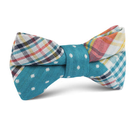 Palid Blue Gingham Cotton Polka Dot Kids Bow Tie