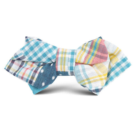 Plaid Blue Gingham Cotton Polka Dot Kids Diamond Bow Tie