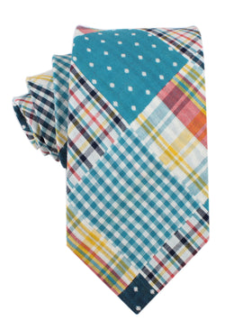 Palid Blue Gingham Cotton Polka Dot Necktie