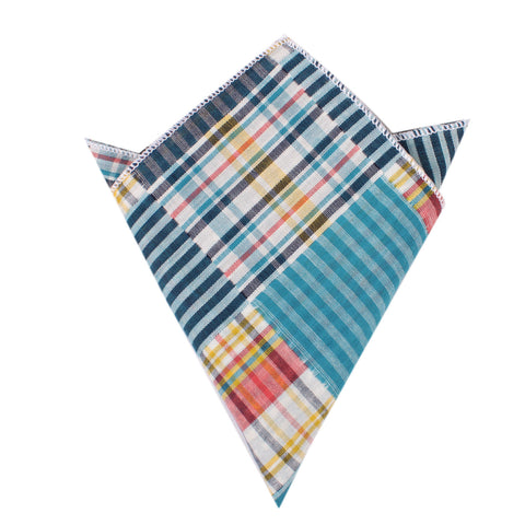 Plaid Blue Gingham Cotton Polka Dot Pocket Square