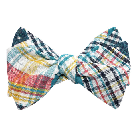 Plaid Blue Gingham Cotton Polka Dot Self Tie Bow Tie