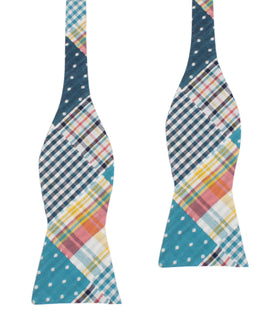 Palid Blue Gingham Cotton Polka Dot Self Tie Bow Tie