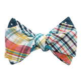 Palid Blue Gingham Cotton Polka Dot Self Tie Bow Tie 2