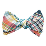 Palid Blue Gingham Cotton Polka Dot Self Tie Bow Tie 3