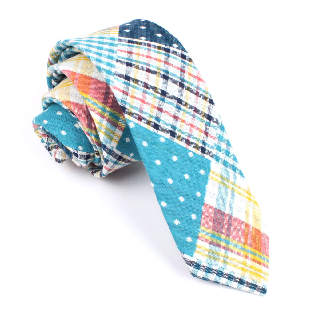 Plaid Blue Gingham Cotton Polka Dot Skinny Tie