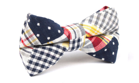 Plaid Grey Gingham Cotton Polka Dot Bow Tie