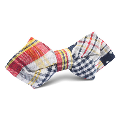 Plaid Grey Gingham Cotton Polka Dot Diamond Bow Tie
