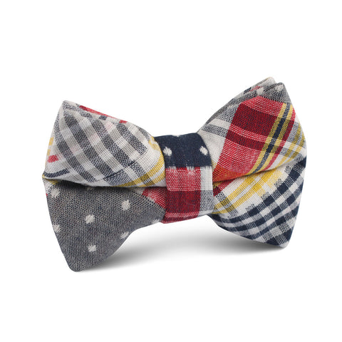 Palid Grey Gingham Cotton Polka Dot Kids Bow Tie
