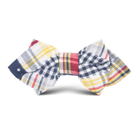 Palid Grey Gingham Cotton Polka Dot Kids Diamond Bow Tie