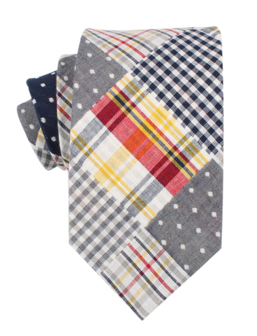 Palid Grey Gingham Cotton Polka Dot Necktie