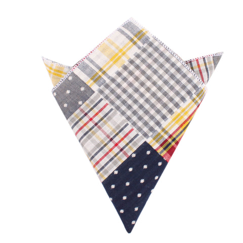 Plaid Grey Gingham Cotton Polka Dot Pocket Square