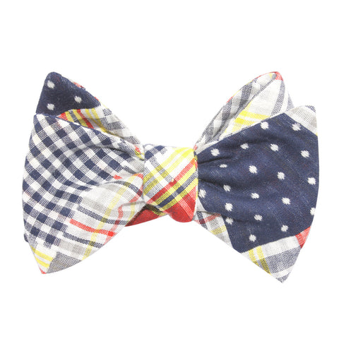 Palid Grey Gingham Cotton Polka Dot Self Tie Bow Tie