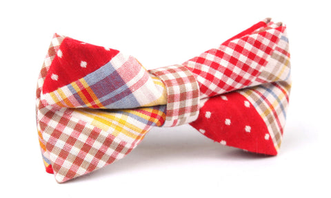 Plaid Red Gingham Cotton Polka Dot Bow Tie