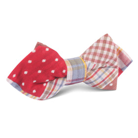 Palid Red Gingham Cotton Polka Dot Diamond Bow Tie