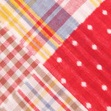 Palid Red Gingham Cotton Polka Dot Fabric Pocket Square C010