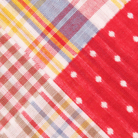 Palid Red Gingham Cotton Polka Dot Pocket Square
