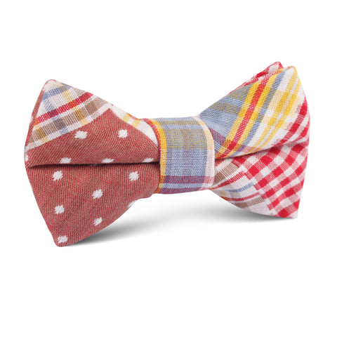 Palid Red Gingham Cotton Polka Dot Kids Bow Tie