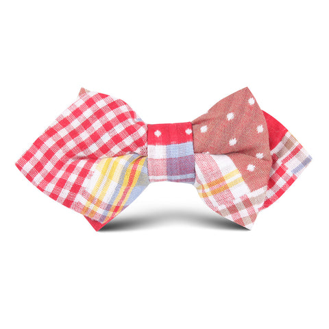 Palid Red Gingham Cotton Polka Dot Kids Diamond Bow Tie