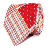 Palid Red Gingham Cotton Polka Dot Necktie Front