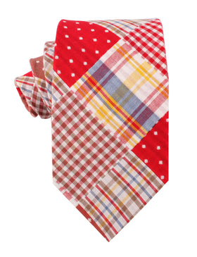 Palid Red Gingham Cotton Polka Dot Necktie