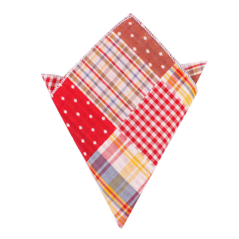 Plaid Red Gingham Cotton Polka Dot Pocket Square