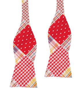 Palid Red Gingham Cotton Polka Dot Self Tie Bow Tie