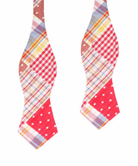 Palid Red Gingham Cotton Polka Dot Self Tie Diamond Bow Tie