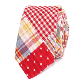 Palid Red Gingham Cotton Polka Dot Skinny Tie