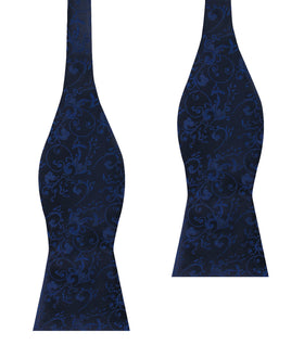 Parc Monceau Navy Blue Floral Self Bow Tie
