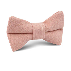 Paris Blush Pink Textured Vintage Linen Kids Bow Tie