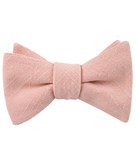 Paris Blush Pink Textured Vintage Linen Self Bow Tie