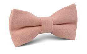 Paris Blush Pink Textured Vintage Linen Bow Tie