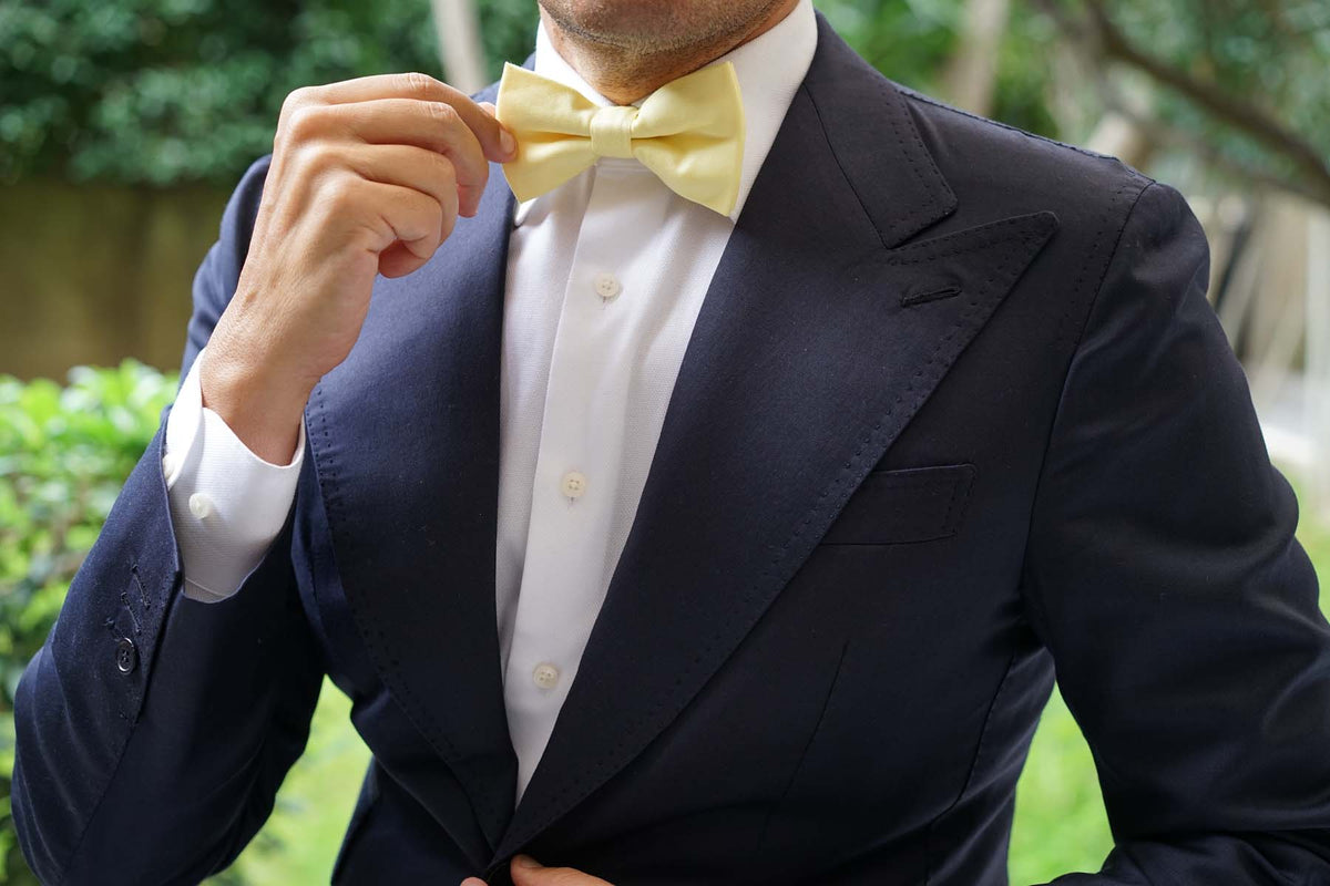 Pastel Yellow Cotton Bow Tie